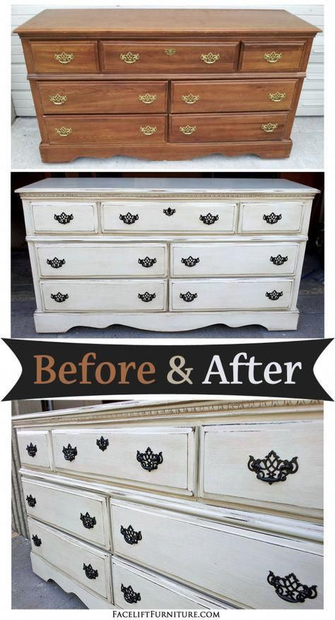 Off White Dresser With Espresso Glaze