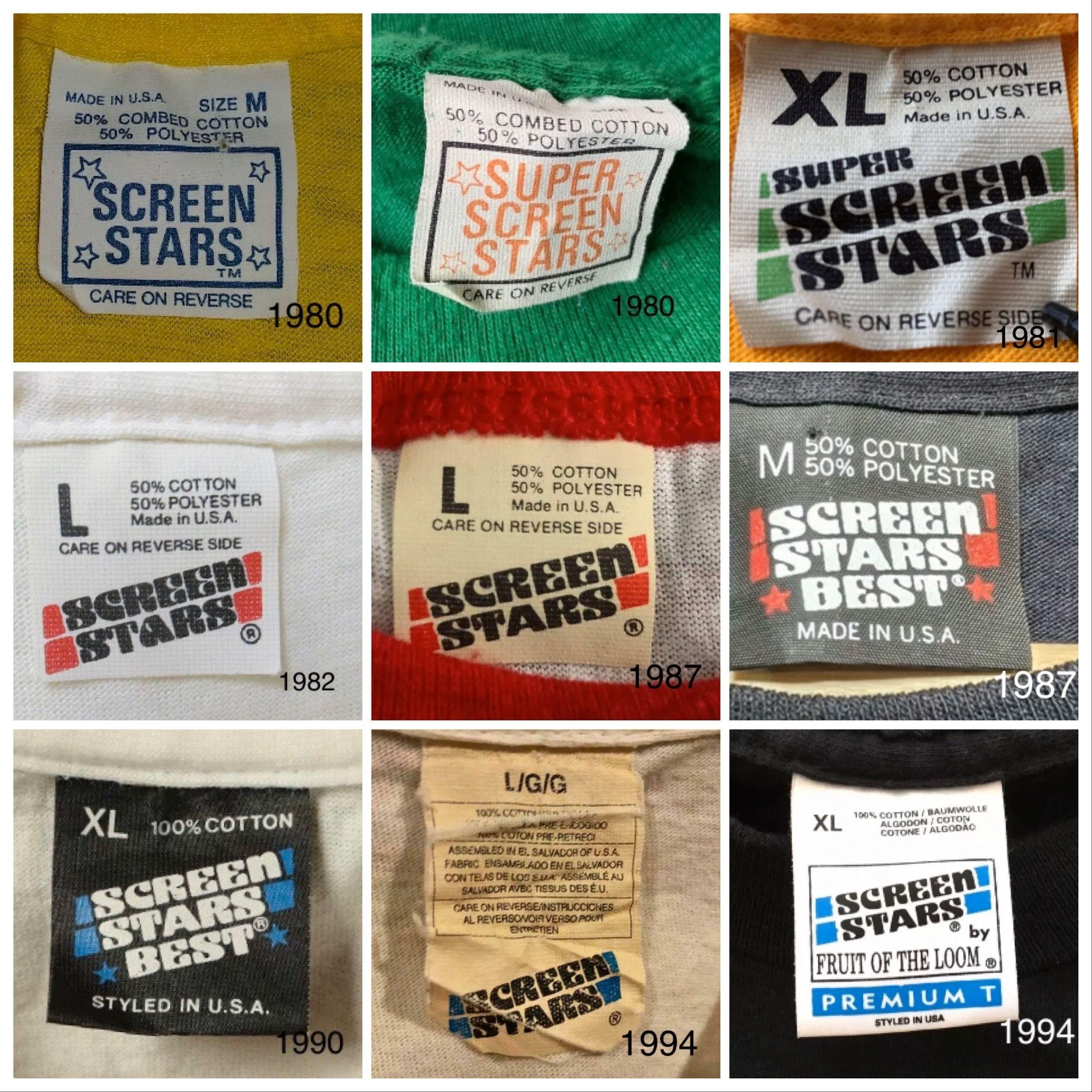 Screen Stars Tags Vintage Tags Vintage Labels Vintage Tshirts