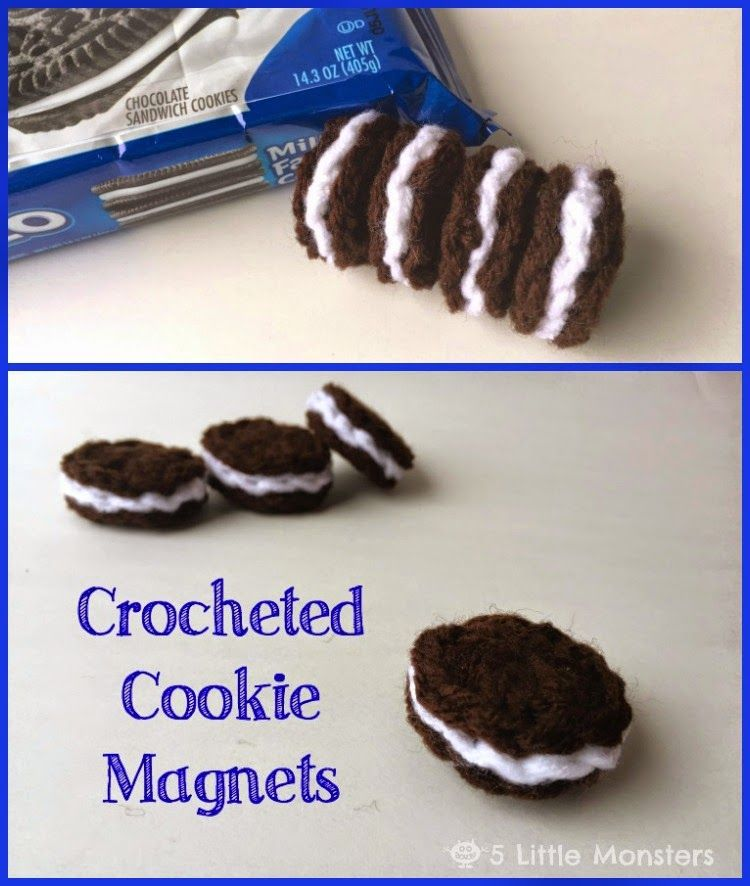 Free pattern for crocheted cookie magnets. My mom made these when I was little. From 5 Little Monsters