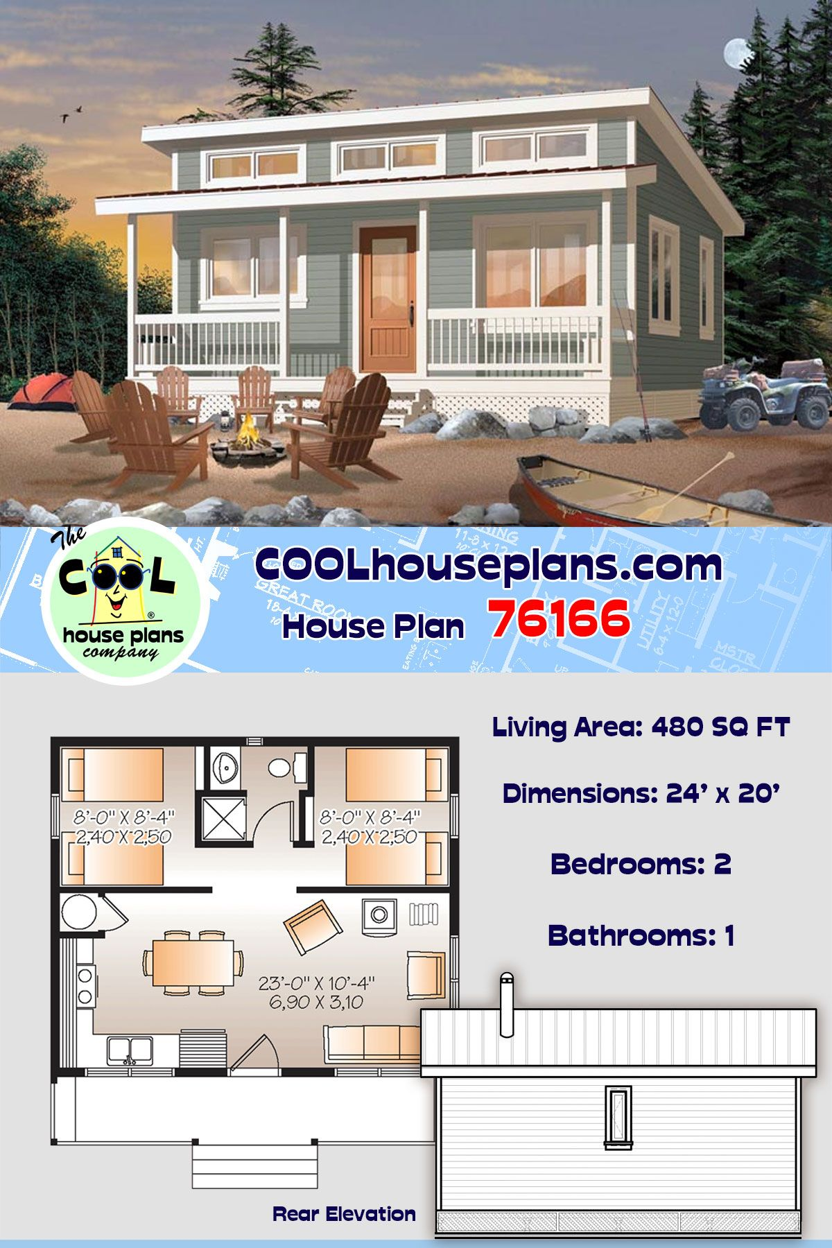 Cabin Style House Plan 76166 With 2 Bed 1 Bath Vacation House Plans House Plans Tiny House Plan