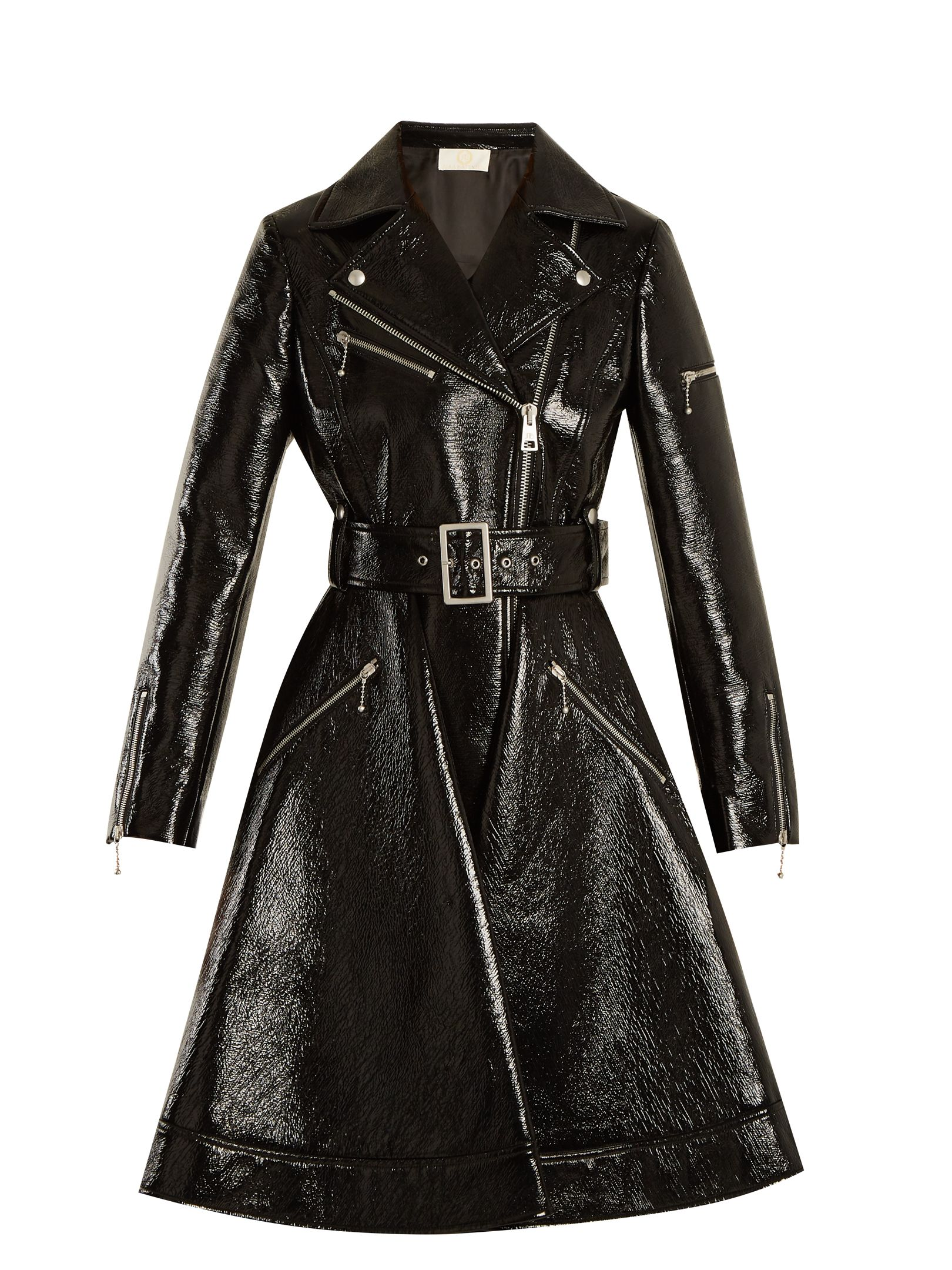 Sara Battaglia Flared hem Patent Faux leather Biker Coat In