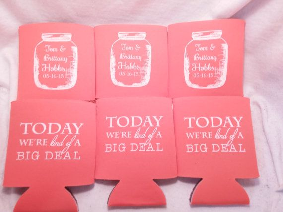 Mason Jar Wedding Can Coolers Design by odysseycustomdesigns ...
