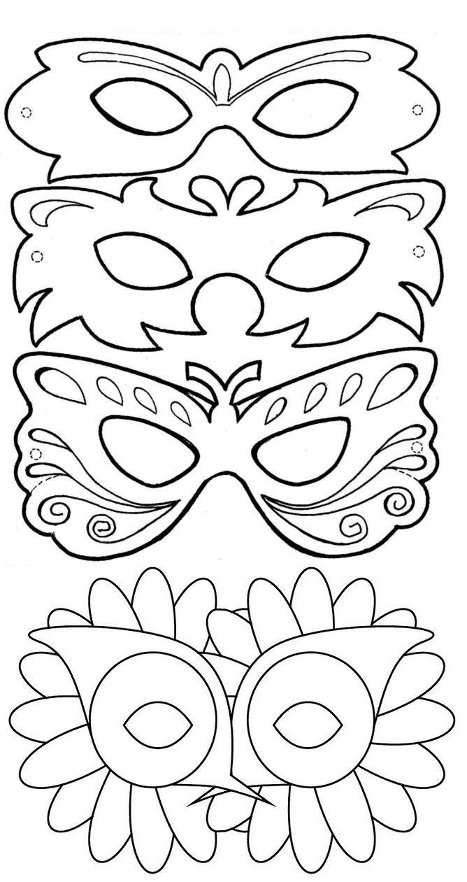 Kleurplaten Maskers Carnaval.Kleurplaat 1 Sjabloon Maskers Italie Mascaras Carnaval Fiestas
