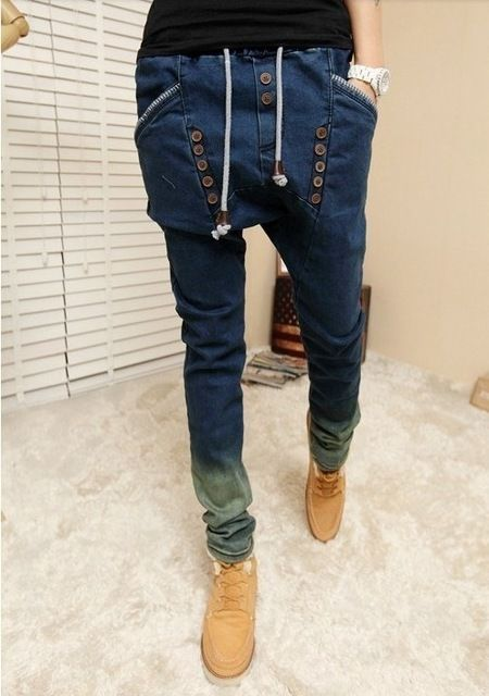 782e9483a0e Online Shop male HIPHOP Low Drop crotch pants men denim Jeans Harem hip hop  pants men baggy pants Stretch trousers loose pantalon