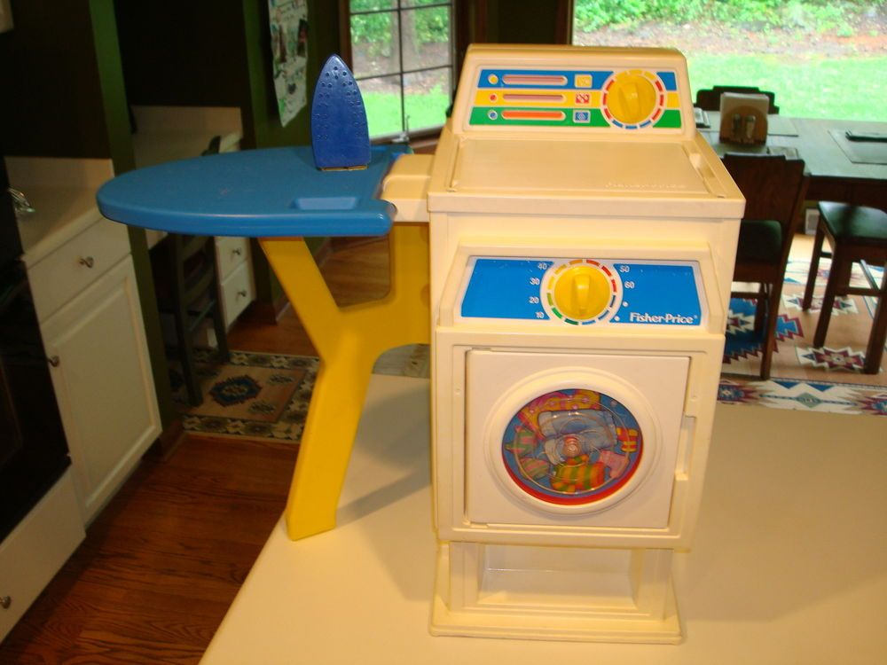 ultra rare 1990 fisher price washer dryer iron board laundry center combo l k vintage toys. Black Bedroom Furniture Sets. Home Design Ideas