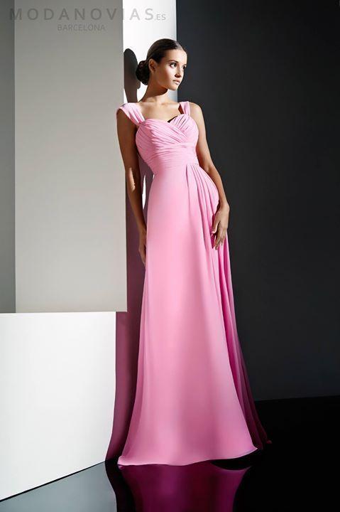 Vestido de fiesta E-1118 largo de gasa en color rosa y también ...