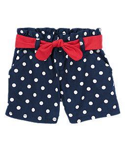 Adorable shorts - navy and white polka dot