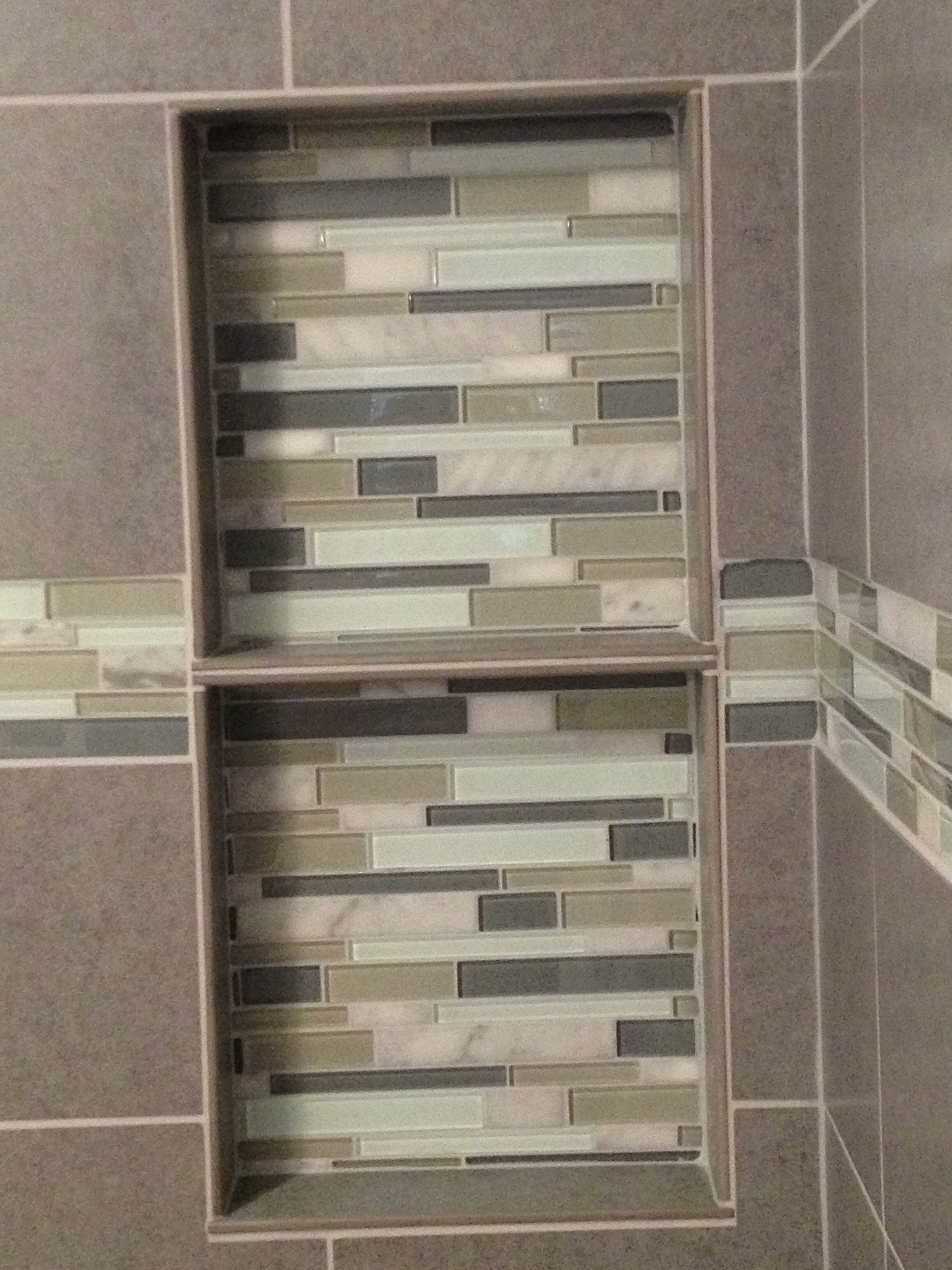 double shelf, recessed shelf, glass tile, decorative border