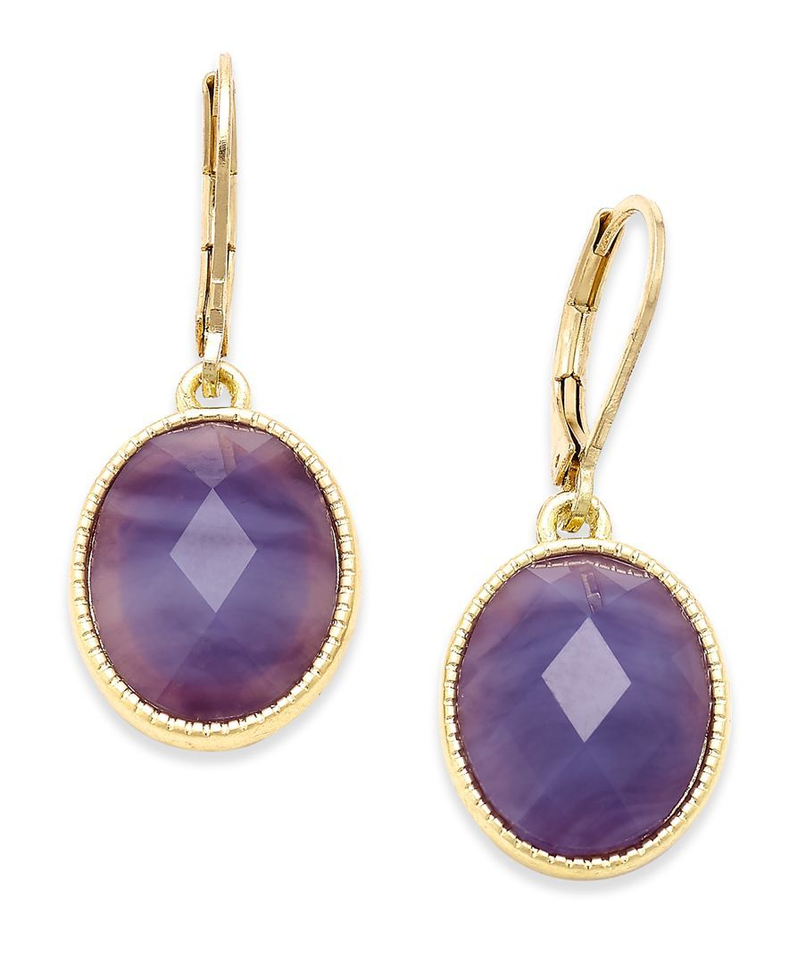 lonna & lilly Gold-Tone Purple Stone Drop Earrings