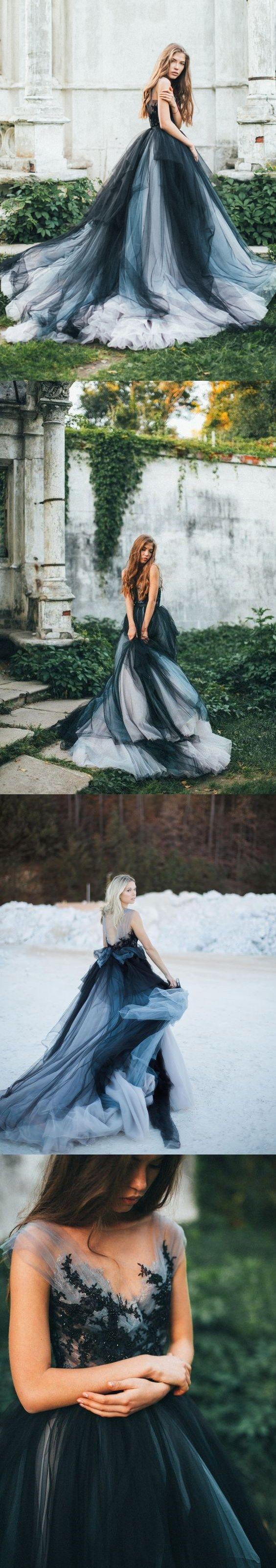 Black romantic wedding dresses colored modest long train lace big