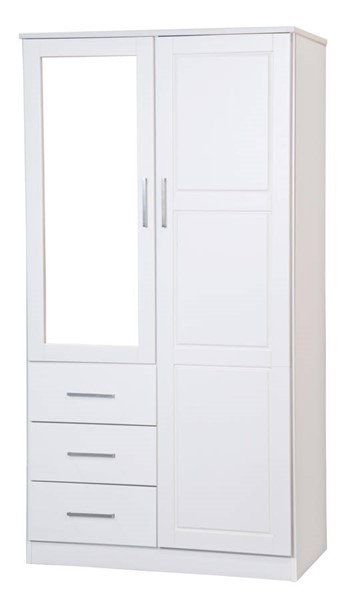 Palace Imports Metro White 2 Shleves Wardrobe Wood Wardrobe Wardrobe Armoire White Dresser With Mirror