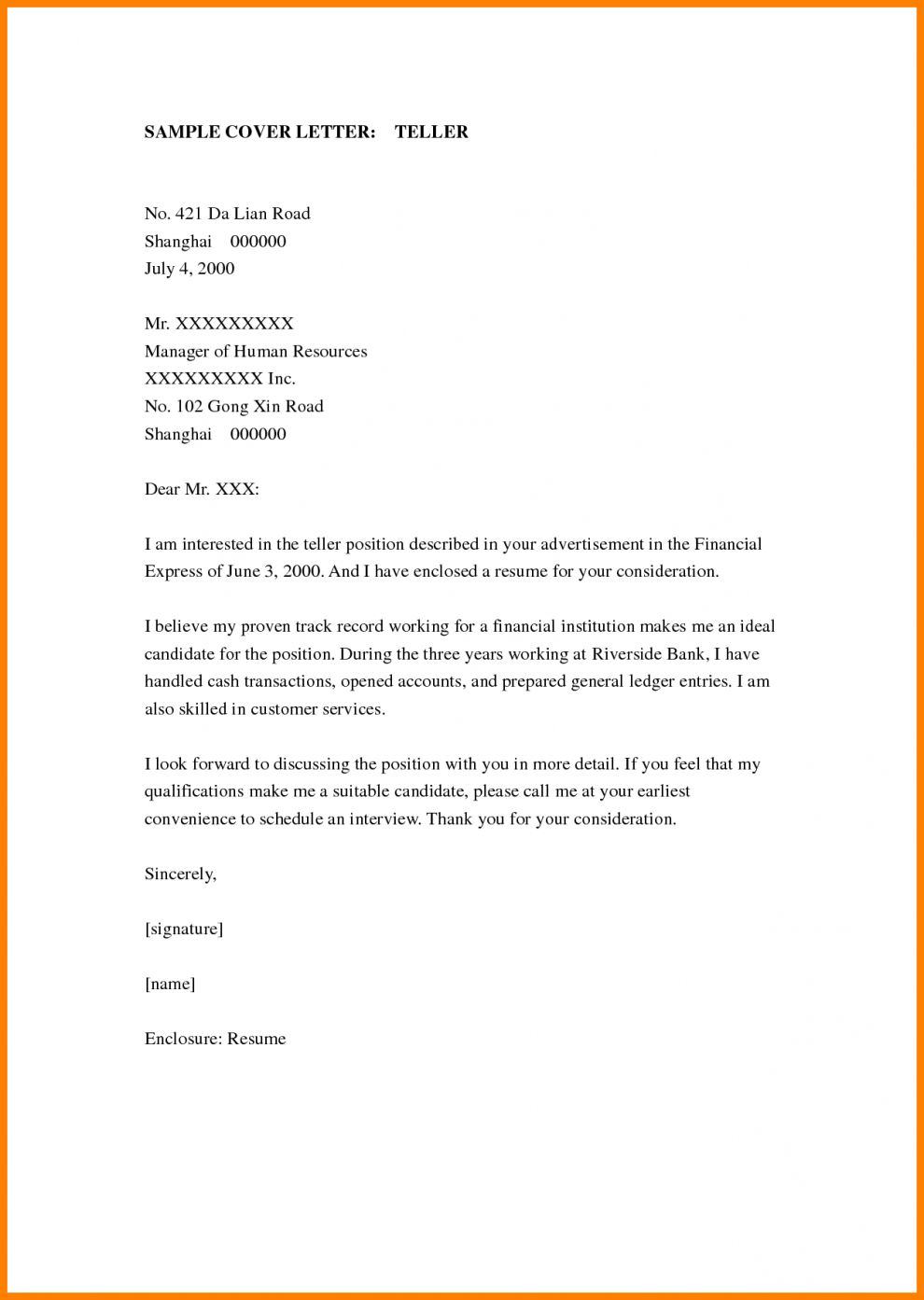 26 No Experience Cover Letter Cover Letter For Resume Cashiers