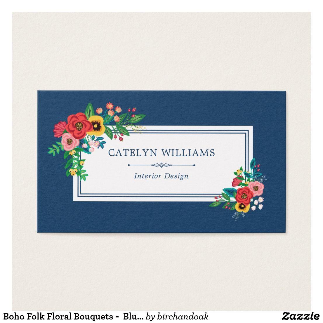 Boho Folk Floral Bouquets Blue White Business Card Business