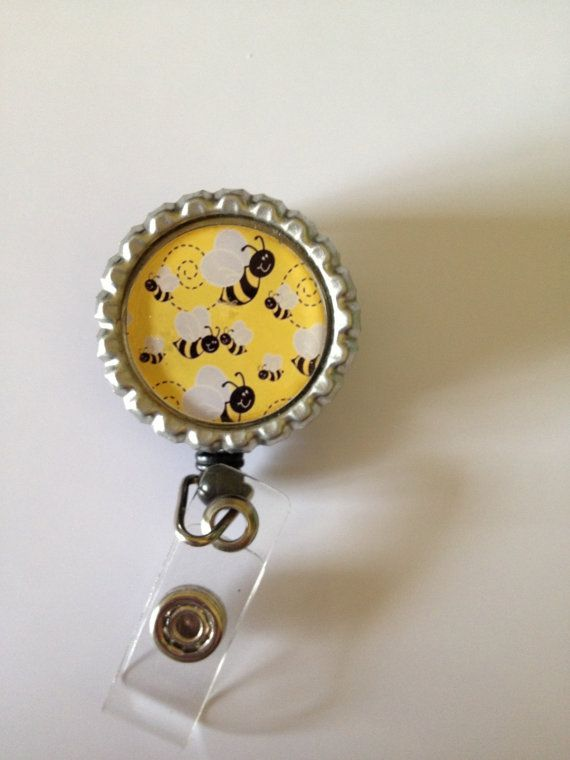 Bottle Cap ID badge reel holder Bumble Bees FREE by TKsThriftique, $6.50