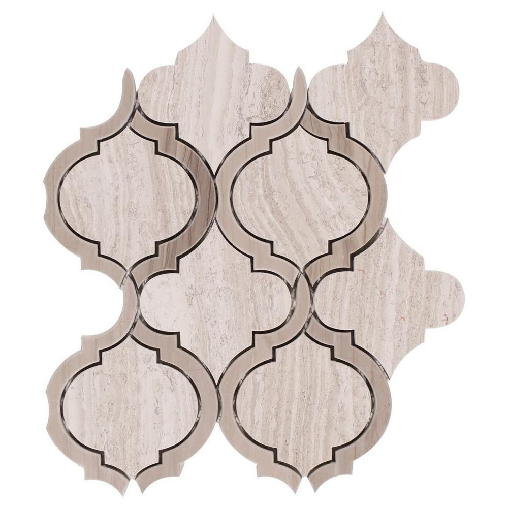 Floor And Decor Pool Tile Valentino Mix Arabesque Water Jet Cut Marble Mosaic  Marble