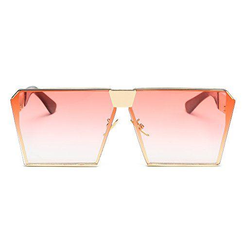 9080a2eb87cf JOJO S SECRET Oversized Square Sunglasses Metal Frame Flat Top Sunglasses  JS009 (Gold Transparent red