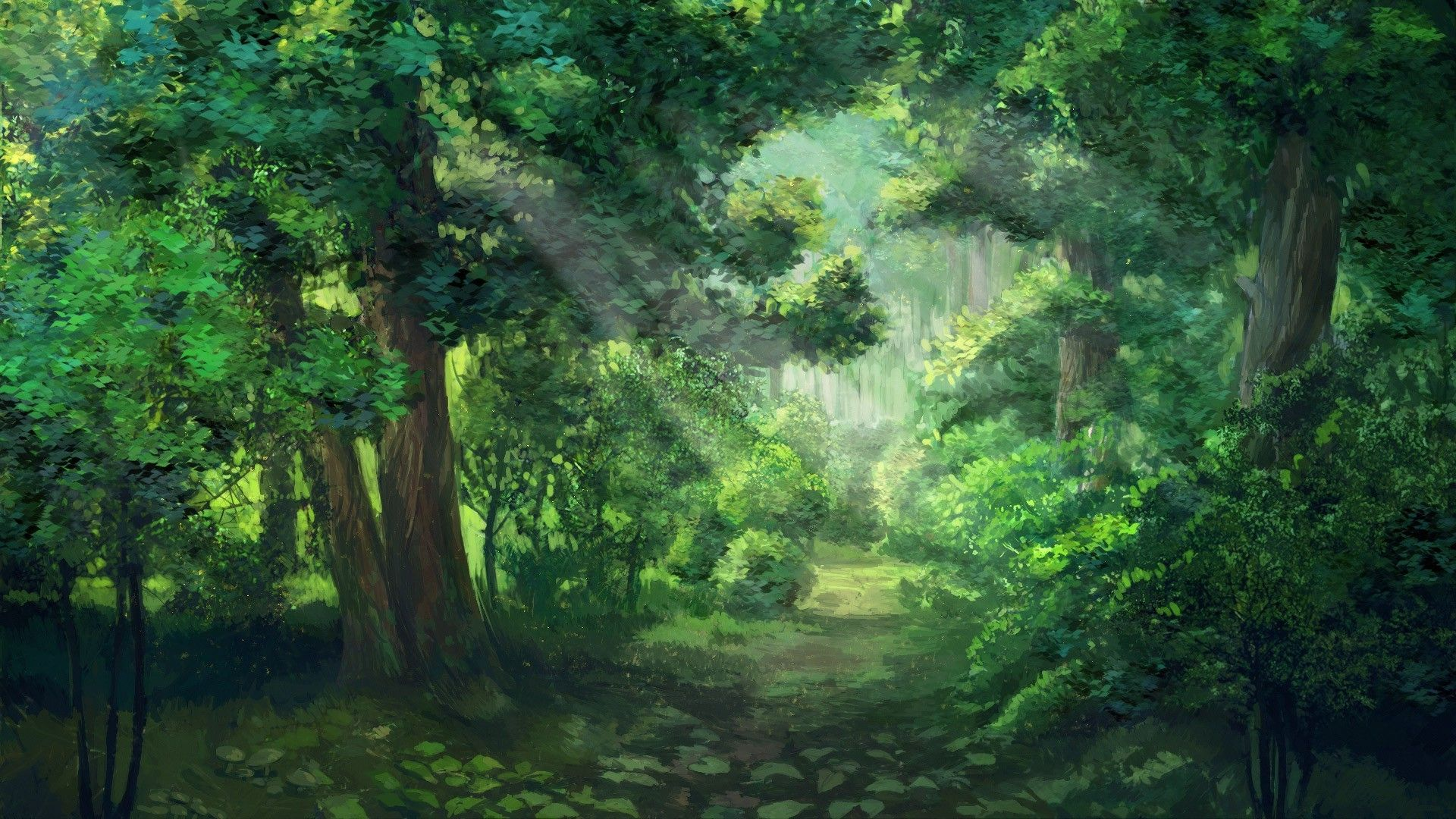 Download Hd Wallpapers Of 112380 Sunlight Forest Green Everlasting Summer Sun Rays Trees Free Download High Quali Anime Scenery Fantasy Landscape Scenery