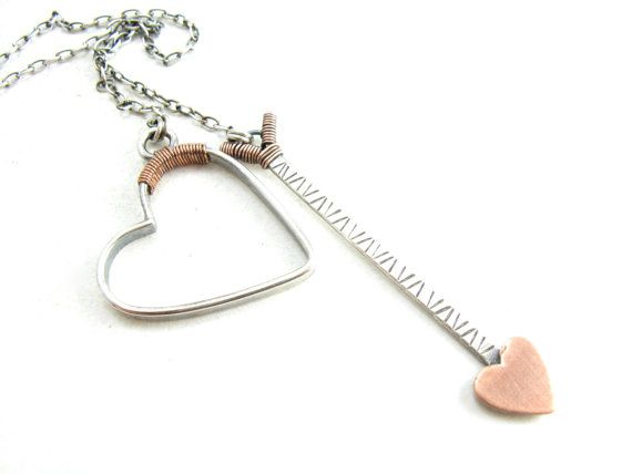 Sterling Silver Heart And Arrow Lariat Necklace by BooBeads, $74.00