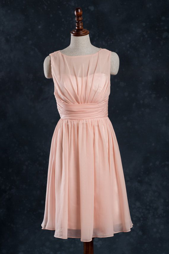 Bright Peach Bridesmaid Dress, Short Wedding Dress, A line Pleated ...
