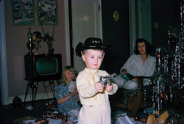 Christmas 1950s Ive Got Two Guns One For Each Of Ya Too Cute
