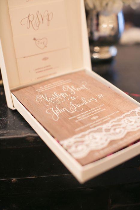 Lace Embellished Wedding Invitations