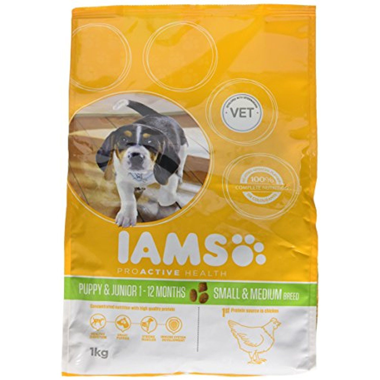 Iams Dry Dog Food Puppy And Junior Small Medium Breed 1 Kg Pack