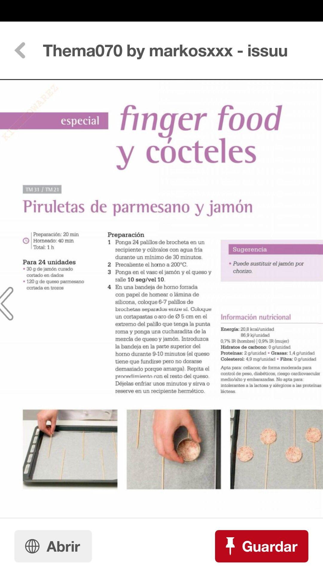 Piruetas De Parmesano Y Jamon Jamon Y Queso Thermomix Brochetas