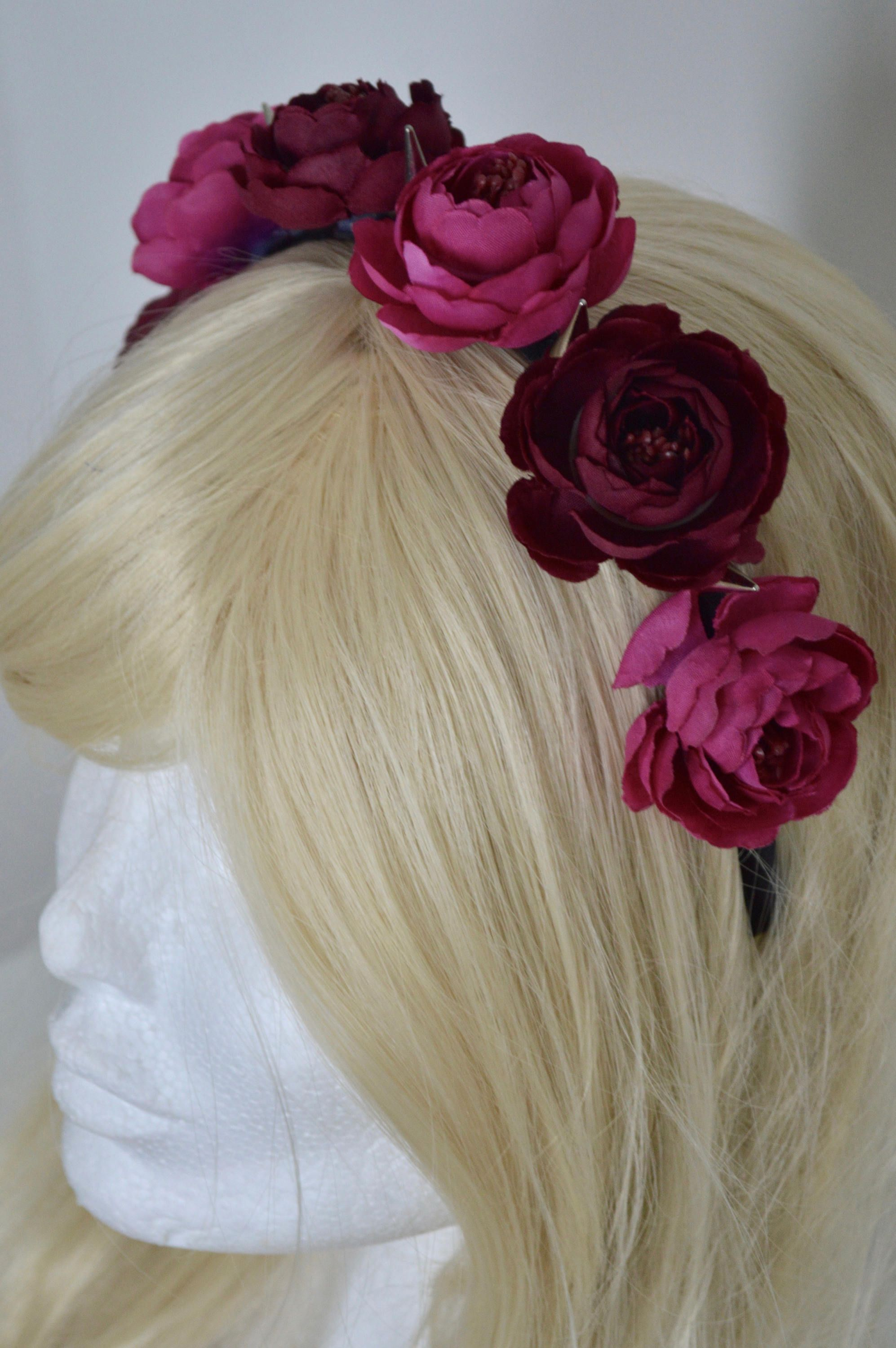 New Pink And Bordeaux Camellia Rose Flower Crown With Silver Metal