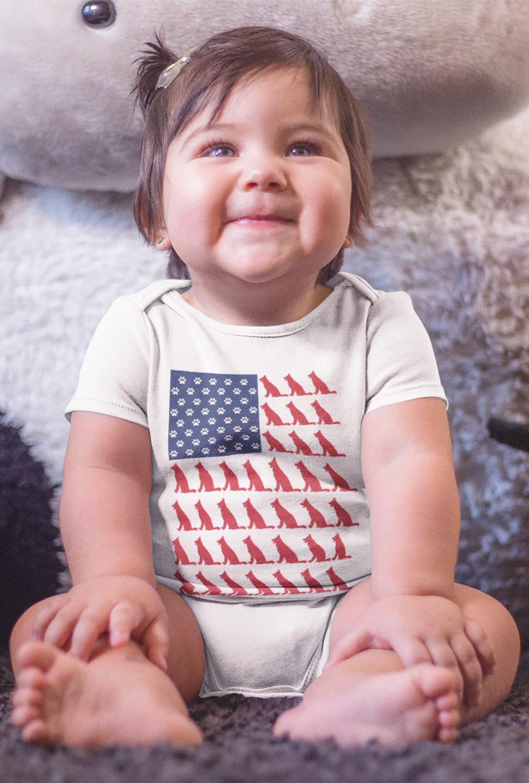 Love German Shepherd USA Flag Unisex Cotton Cute Long Sleeve Infant Bodysuit Baby Romper