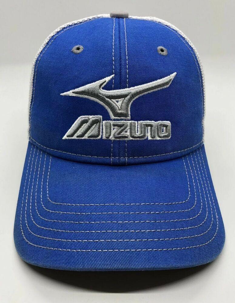 862c4c48 Mizuno Golf Cap Hat Adult Trucker Polyester Cotton Blue White | eBay