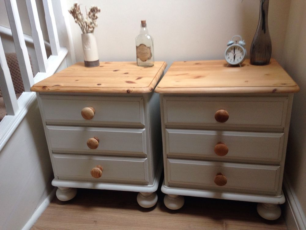 Pair Of Ducal Pine Bedside Tables Hand Painted Country White Shabby Chic Tabedroom Furniturefurniture Ideasbedroom