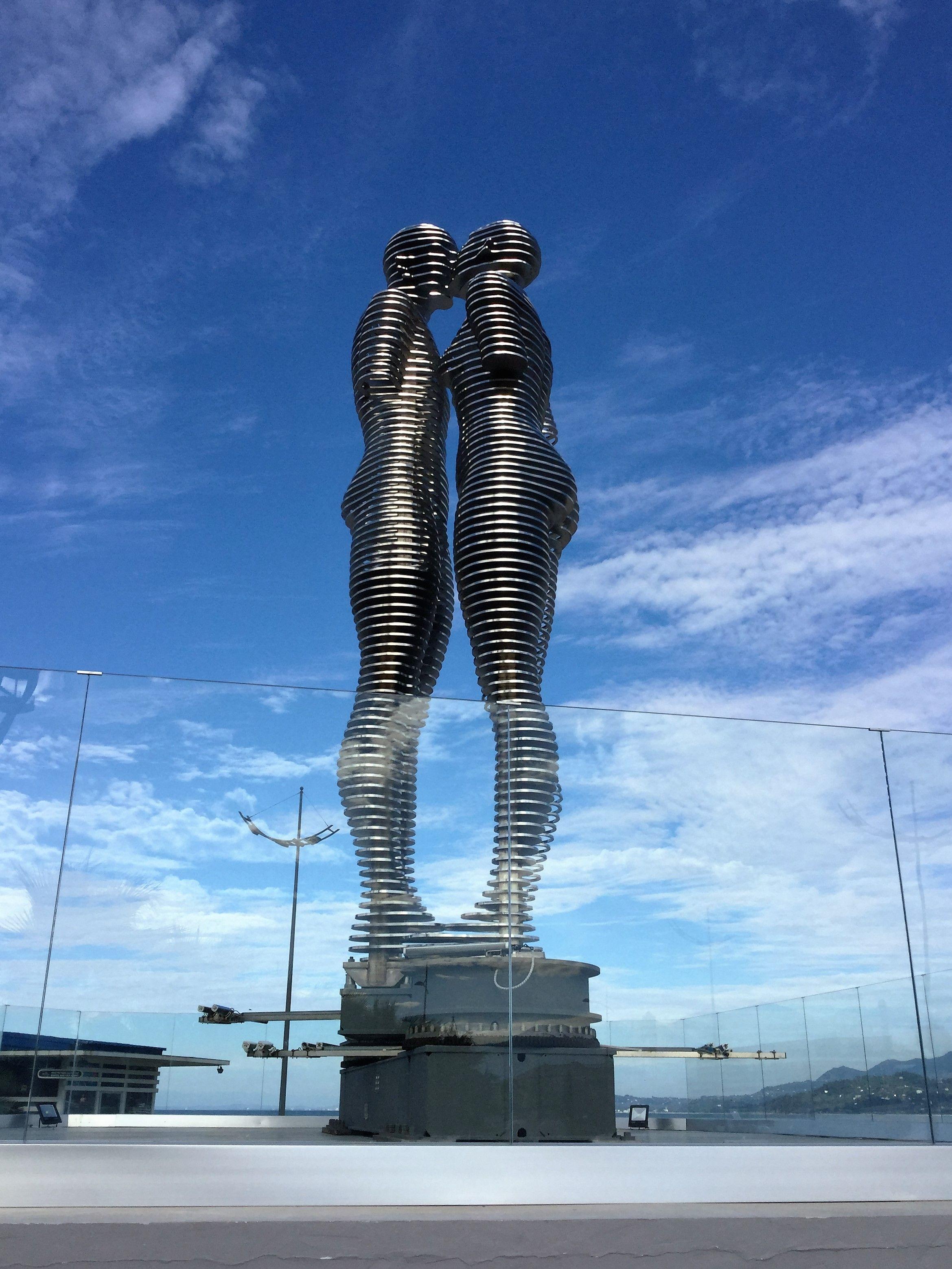 Ali and Nino, moving sculpture in Batumi, Georgia (With