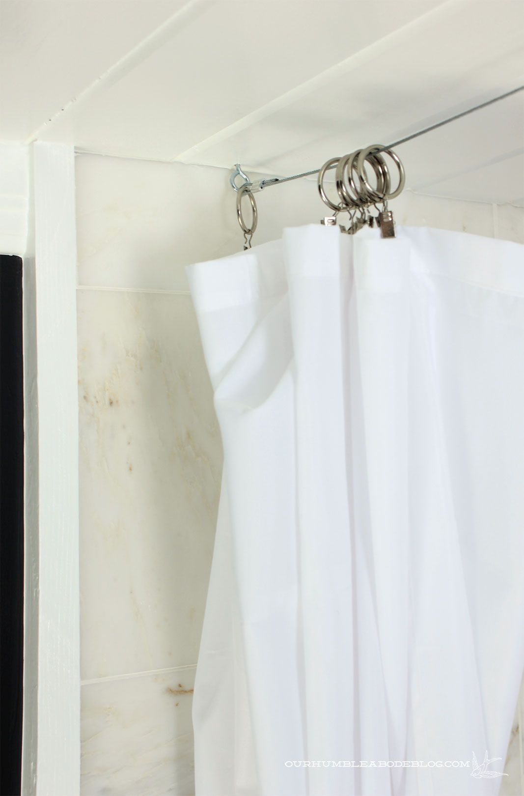 Use Cable And Clips For A Low Profile Shower Curtain Porch