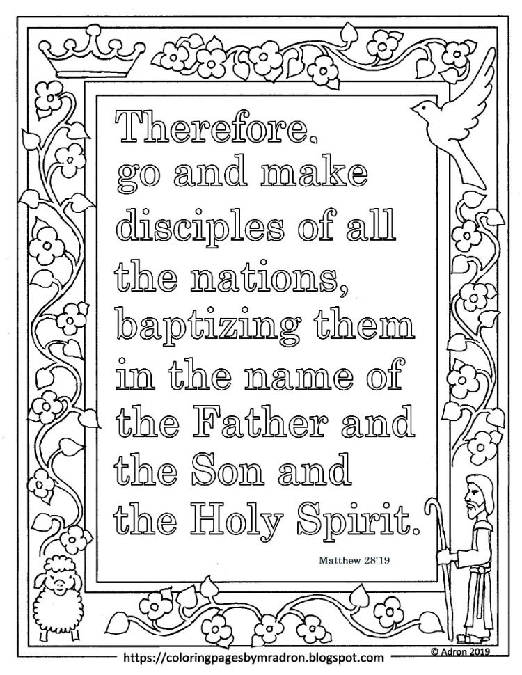 Free Printable Matthew 28 19 Memory Verse Coloring Page Make