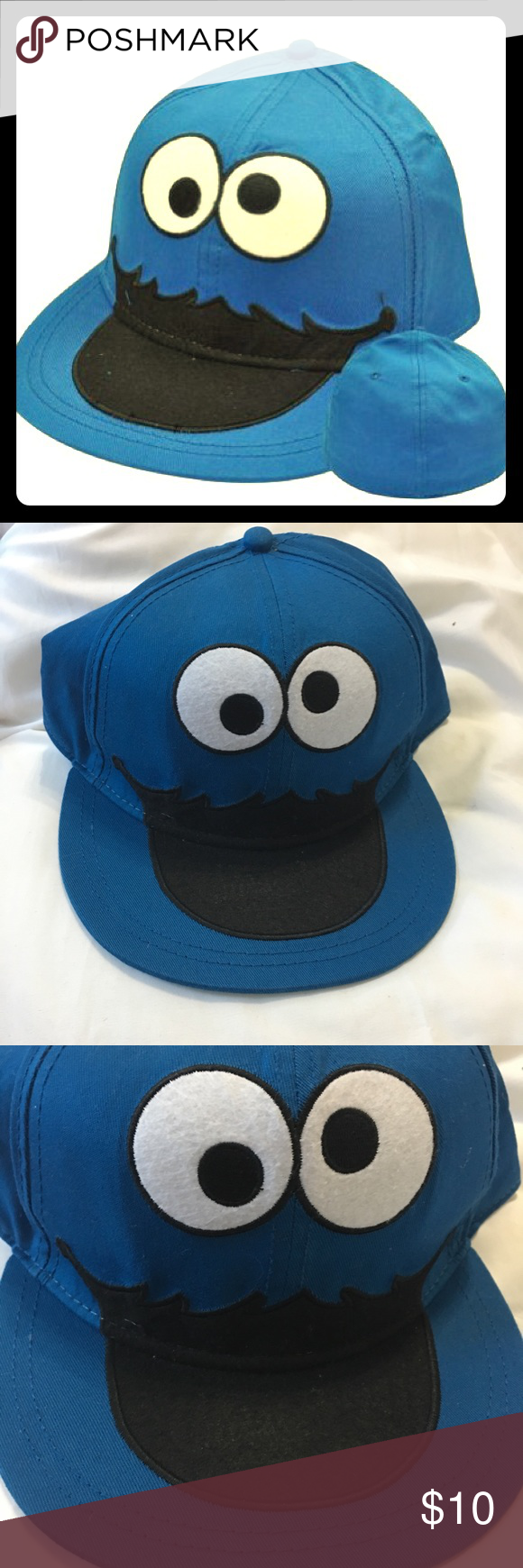 b21b6ebe Cookie Monster Flat Bill Hat Sesame Street Cookie Monster Flat Bill ...