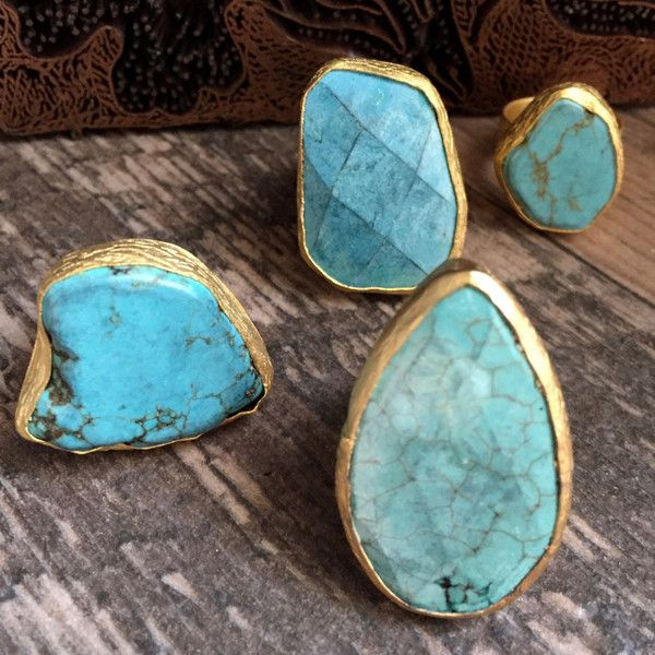Turquoise Ring Raw Stone Ring Turquoise Gold Adjustable Ring