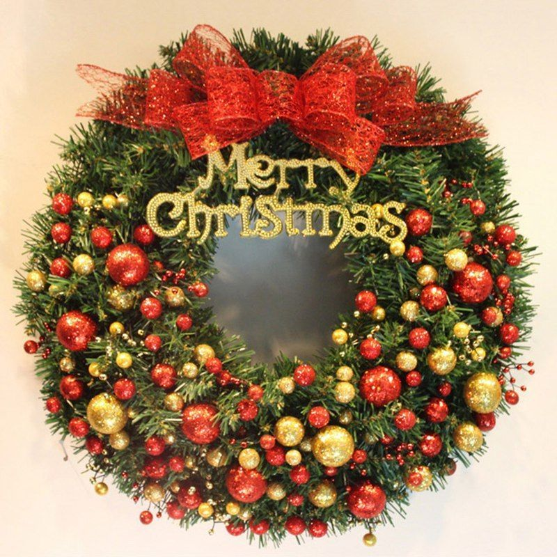 Newly Christmas Wreath With Balls Pine Garland Xmas Wall Door Round