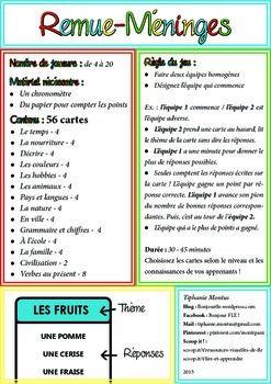 Remue Meninges Brainstorming French Game Teaching French French Games Teaching