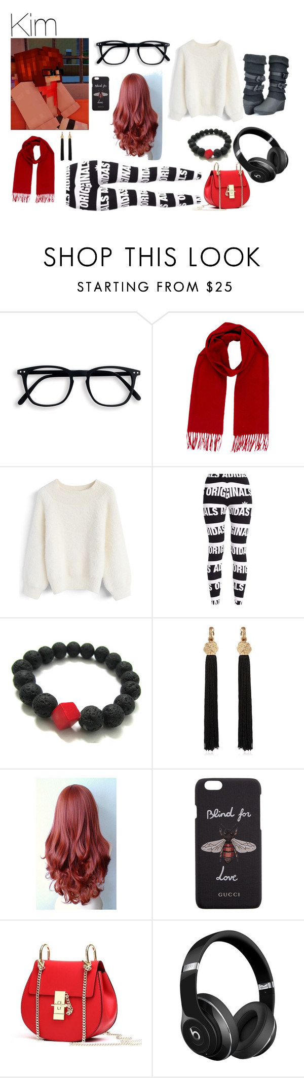 """Kim- Aphmau's Mysreet"" by darkwolf180 ❤ liked on Polyvore featuring Yves Saint Laurent, Chicwish, adidas Originals, Gucci and Beats by Dr. Dre"
