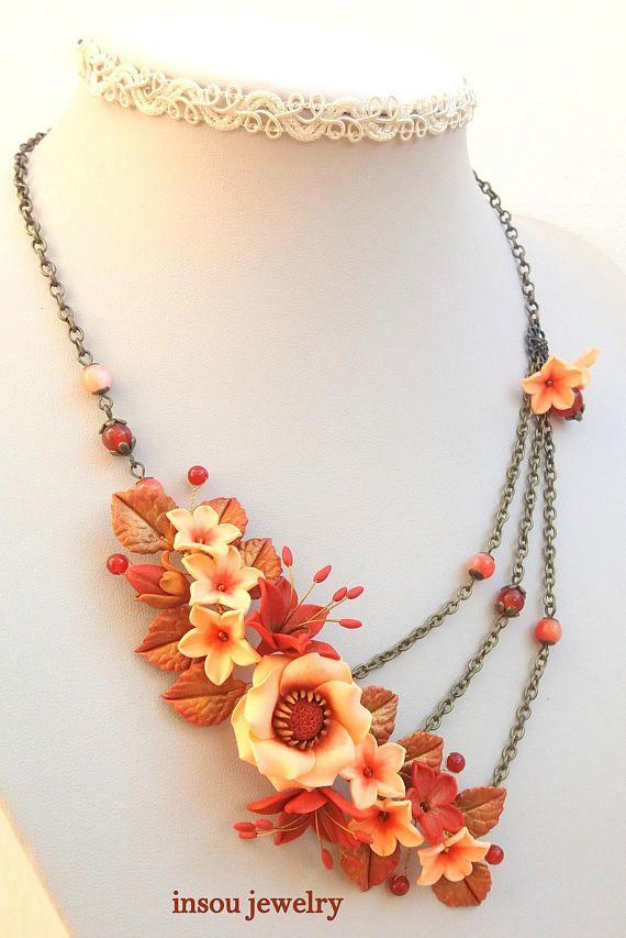Golden Orange Anemone Flower Bead Embroidered Flower Beaded Etsy Handmade Beaded Necklaces Original Necklace Beaded Necklace