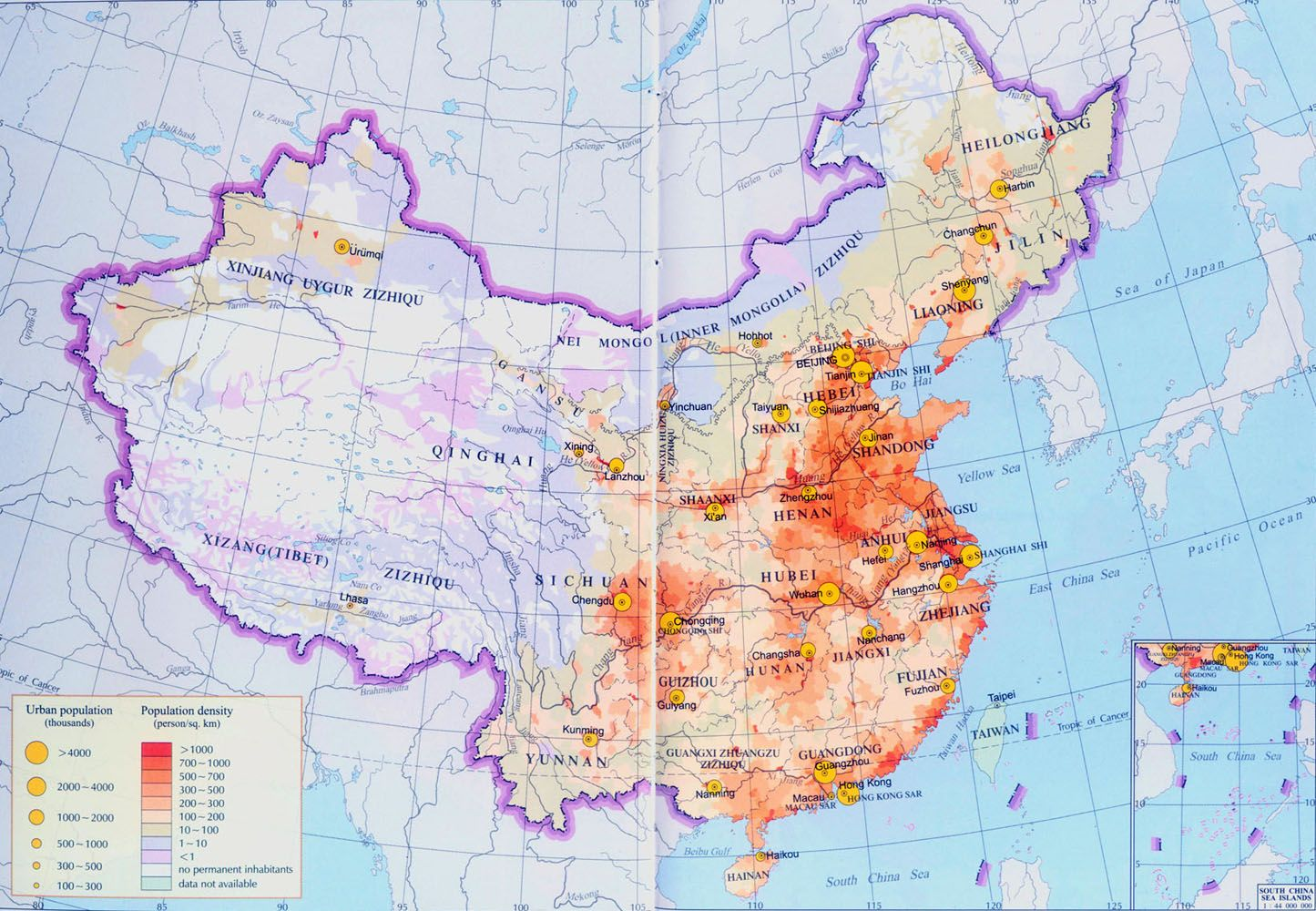 The Map Above Is Showing China S Density In Population