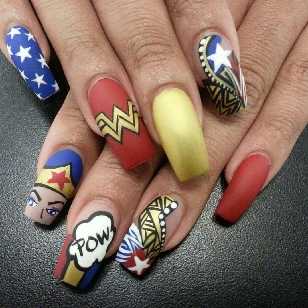 Wonder woman Wonder woman nail art Nail art Nail designs Nail themes ...