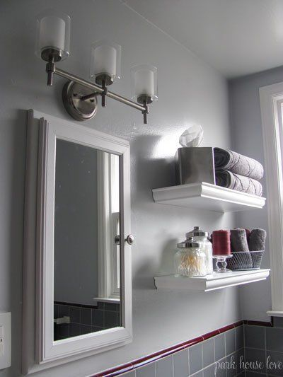 Gray bathrooms with accent color bathroom update gray - Accent color for gray and white bathroom ...