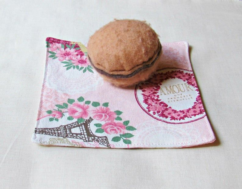 Reusable Pink Fabric Coasters Cocktail Napkin Set Cloth French Paris Doilies Napery Shabby Chic Bird Cage Picnic Foodie Gift Eco-Friendly