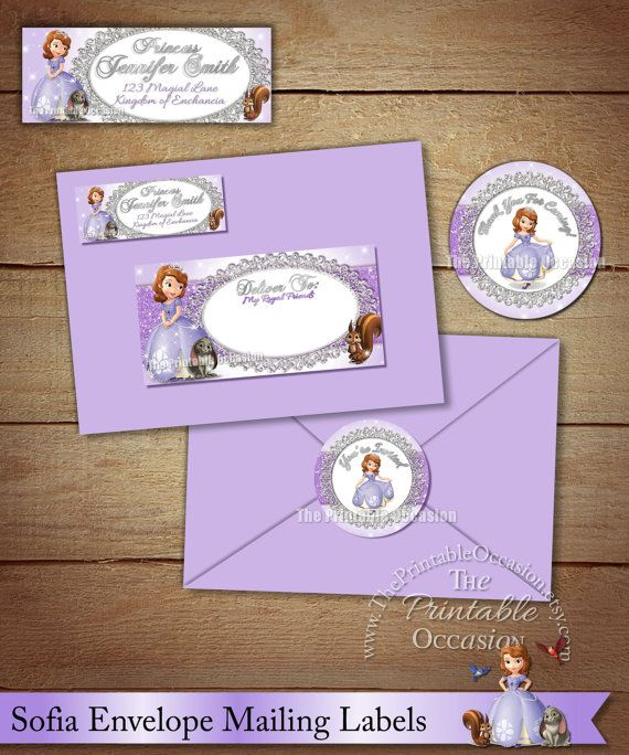 Sofia The First Address Labels And Envelope Seal Princess Sofia