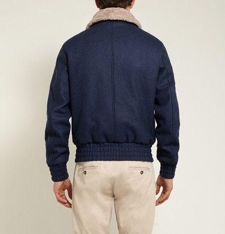 Mens shearling wool coat