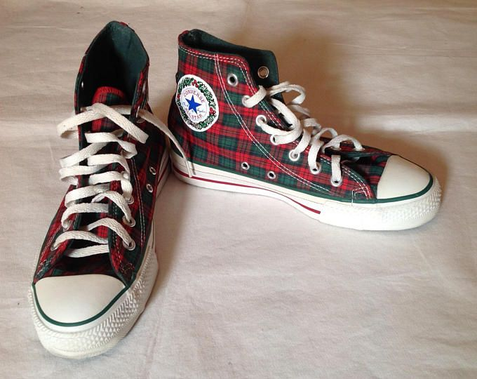 Vtg. Christmas Converse All Star Chuck Taylor High Tops, Red