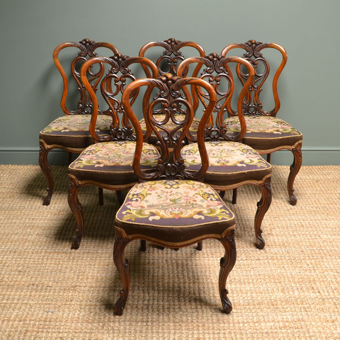 Set of Six Country House Walnut Antique Dining Chairs