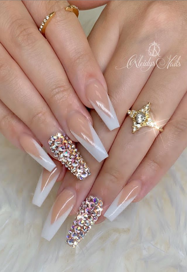 35 Beautiful Acrylic Pink Coffin Nails Design 1to Be A Pretty Girl Page 10 Of 12 Latest Fashion Trends For Woman In 2020 Coffin Nails Designs Coffin Nails Long Rhinestone Nails