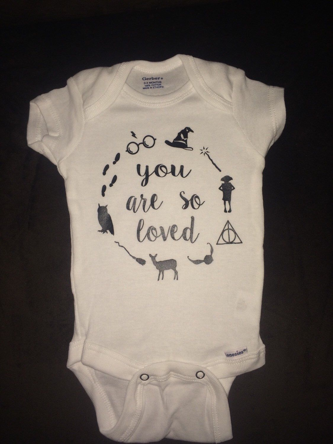 a67170c6cd4a94 Harry Potter inspired baby onesie! Great for your soon to be potterhead